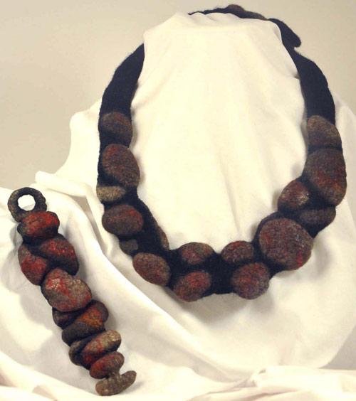 Felt Necklace and Bracelet by Pat Spark