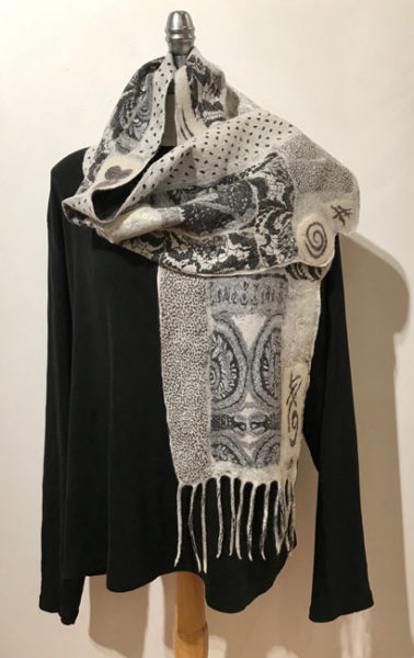 """Collage Scarf with Hand Printing and Painting"" by Pat Spark"